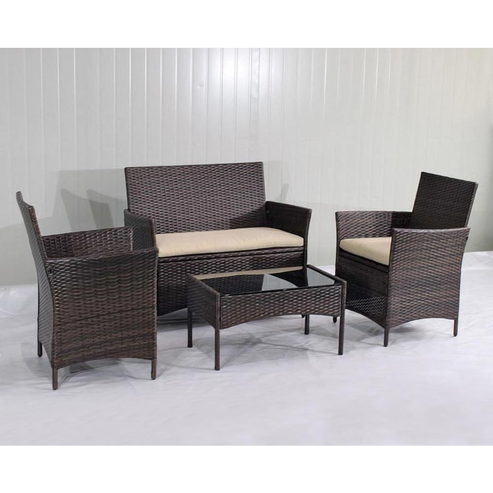 SunTime Outdoor Living 4-Piece Plastic Outdoor Bistro Set with Sofa and  Chairs with Brown Cushions