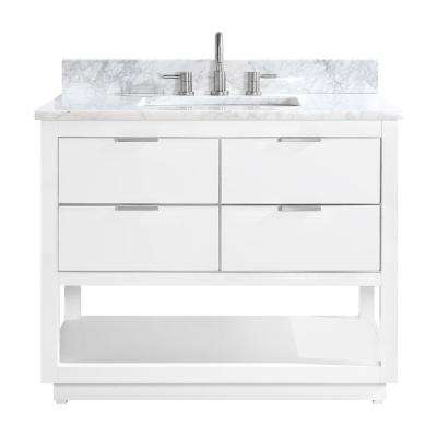 Allie 43 in. W x 22 in. D Bath Vanity in White with Silver Trim with Marble Vanity Top in Carrara White with White Basin
