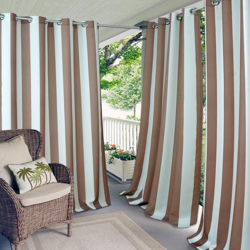 """Aiden Stripe 50"""" W x 108"""" L, Indoor/Outdoor Grommet Window Curtain, Natural"""