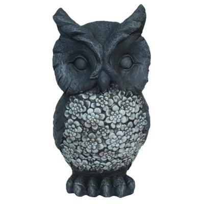 9 in. L x 9 in. W x 17 in. H Resin/Magnesium Owl Garden Decoration in Gray