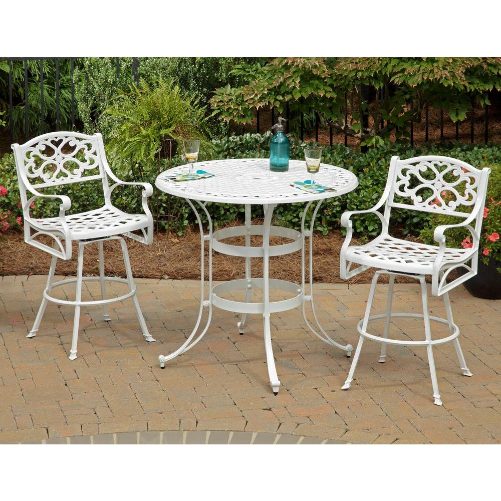 Home Styles Biscayne White 3-Piece Round Patio Bistro Set-DISCONTINUED