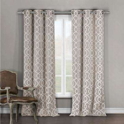 Harris 84 in. L x 36 in. W Polyester Blackout Curtain Panel in Taupe (2-Pack)