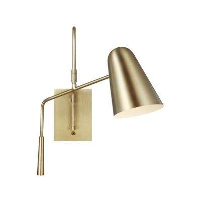ED Ellen DeGeneres Crafted by Generation Lighting Simon 4.875 in. Burnished Brass Swivel Sconce