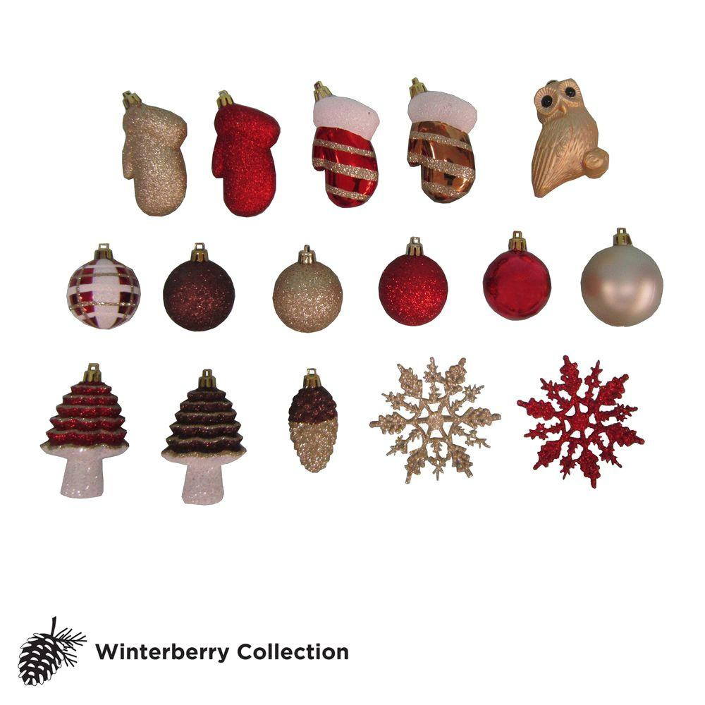 Martha Stewart Living Winterberry Assorted Ornament Set (Set of 71)