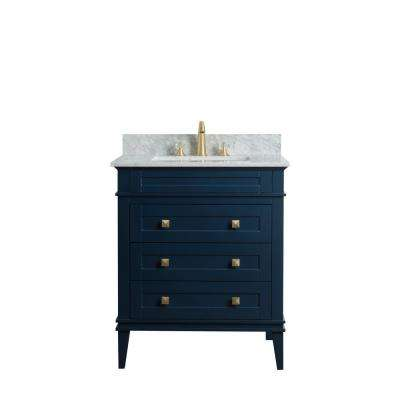 30 in. W x 22 in. D Vanity in Blue with Cararra Marble Vanity Top in White and Gray with White Basin