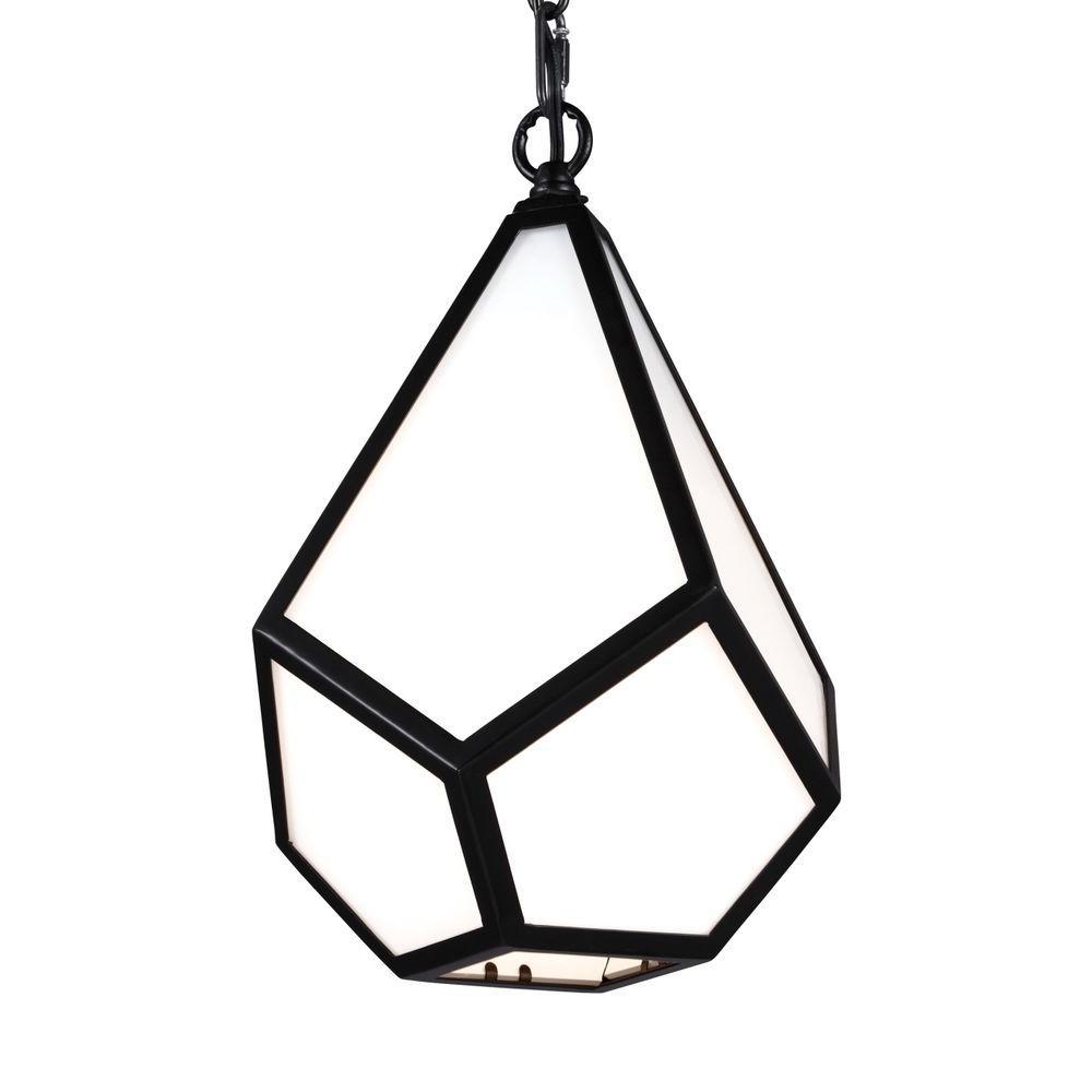 Feiss Diamond 1-Light Black Pendant
