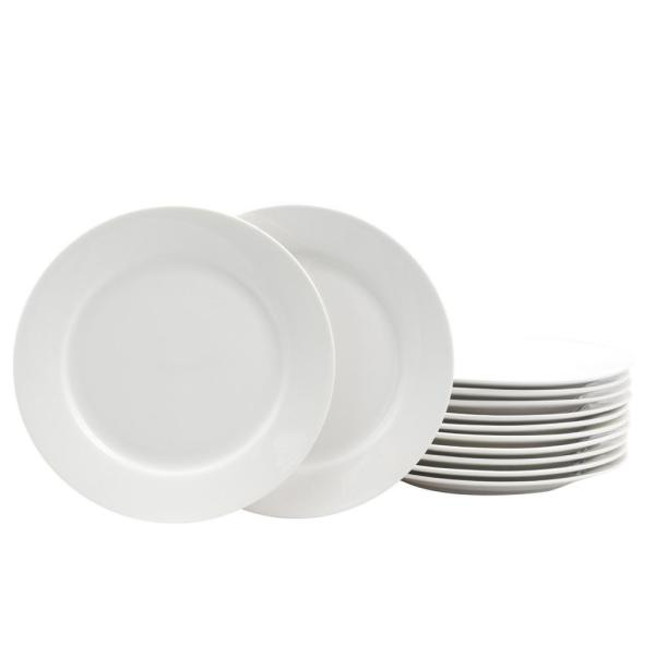 Gibson Home Noble Court 7.5 in. White Dessert Plate (Set of