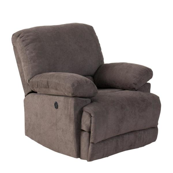 CorLiving Lea Grey Chenille Fabric Power Recliner with USB Port LZY-332-R