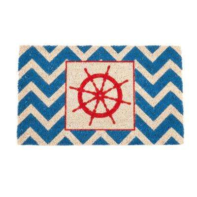 The Wheel 17 in. x 28 in. Non-Slip Coir Door Mat