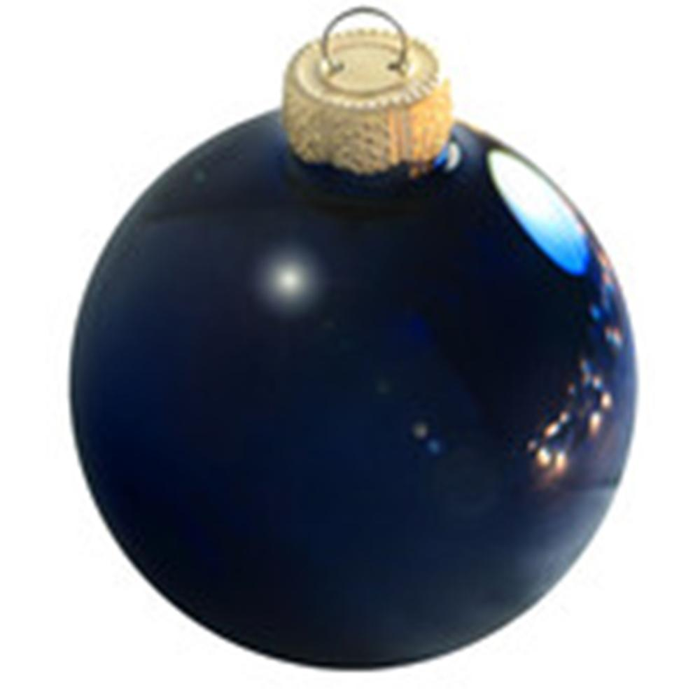 2 in. Midnight Blue Shiny Glass Christmas Ornaments (28-Pack)