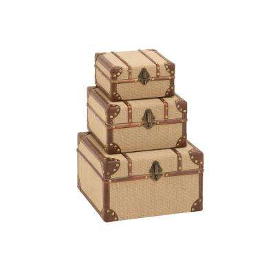 Rectangular Wooden Burlap Trunk Boxes with Hinged Lids (Set of 3)