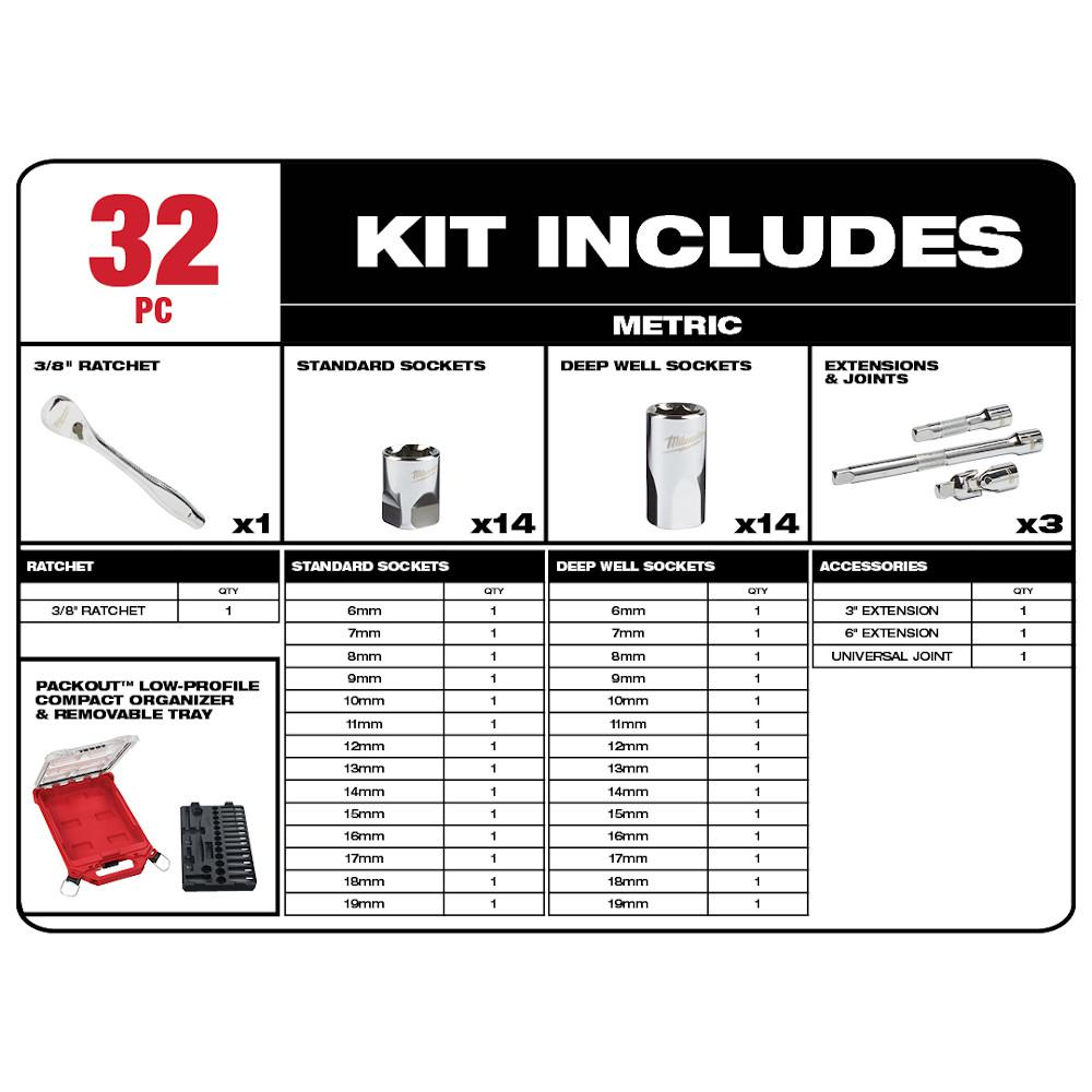 Milwaukee 48-22-9482 32 Piece 3//8 Metric Ratchet and Socket Set In Packout Low Profile Organizer