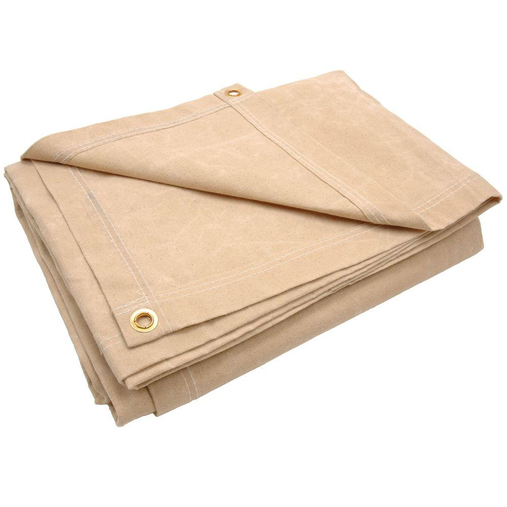 Sigman 9 ft. 8 in. x 11 ft. 8 in. 10 oz. Beige Canvas Tarp-DISCONTINUED