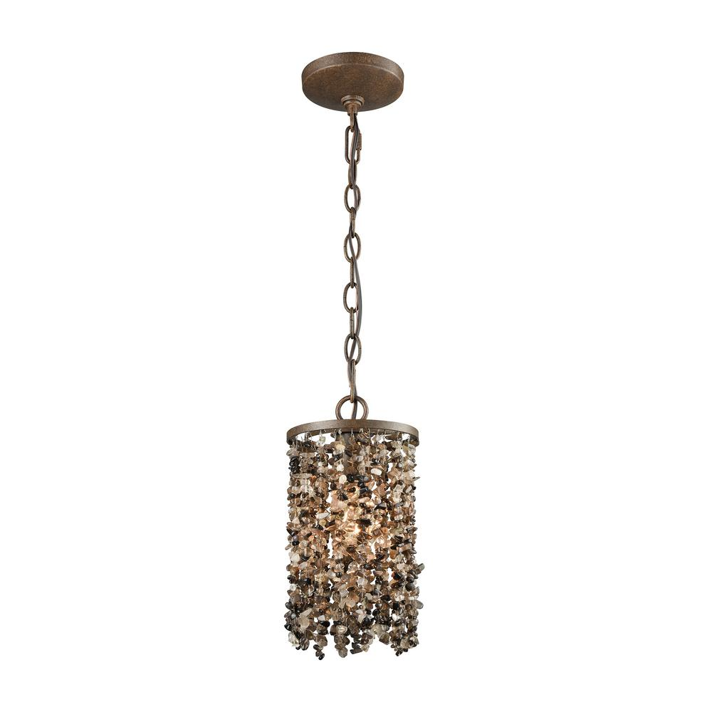 Titan Lighting Agate Stones 1-Light Weathered Bronze with...