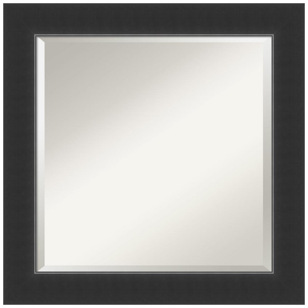 Corvino 25 in. W x 25 in. H Framed Square Beveled Edge Bathroom Vanity Mirror in Black Satin
