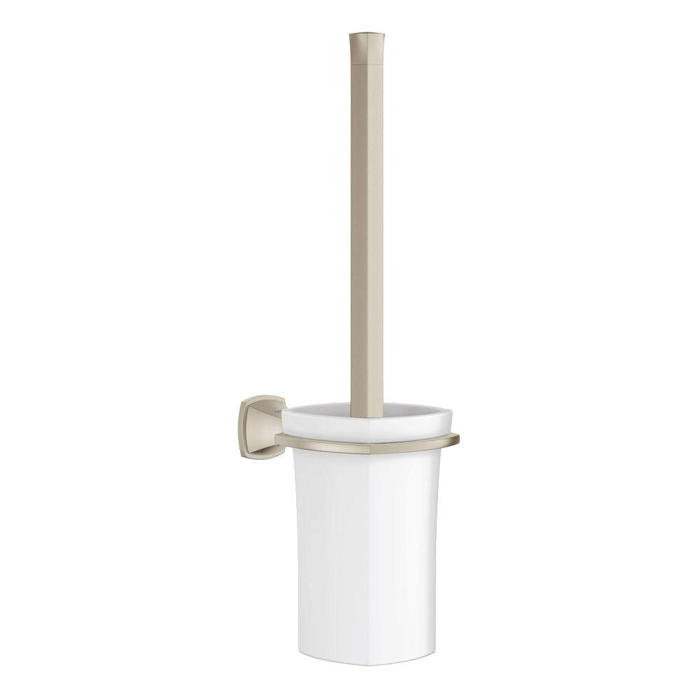 Grandera Wall-Mount Toilet Bowl Brush with Holder in Brushed Nickel