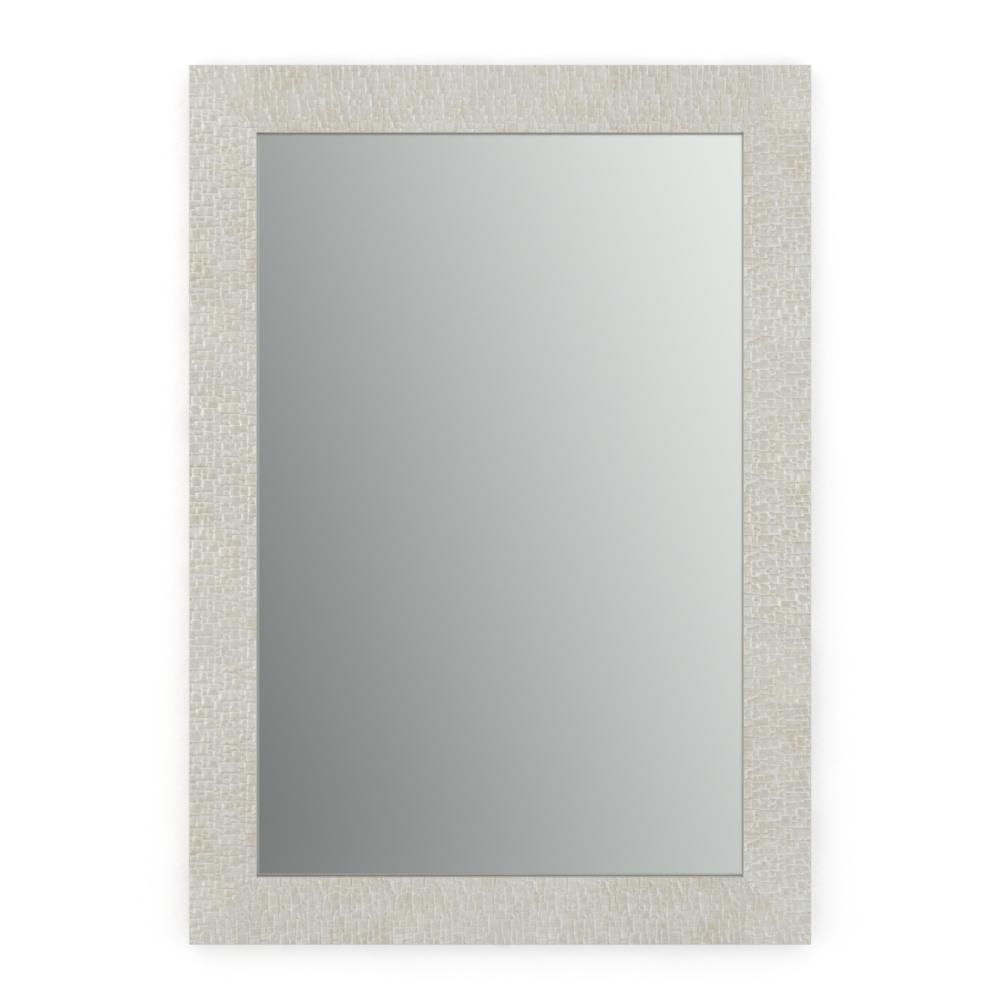 33 in. W x 47 in. H (L1) Framed Rectangular Standard Glass Bathroom Vanity Mirror in Stone Mosaic
