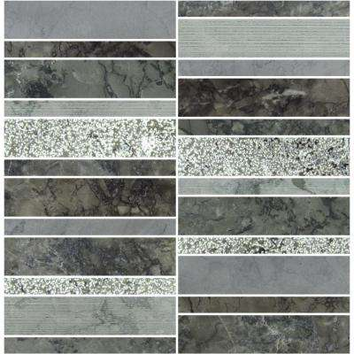Marble Medley Grigio Random Stacked 12 in. x 12 in. x 7.9 mm Mixed Finish Marble Mesh-Mounted Mosaic Tile