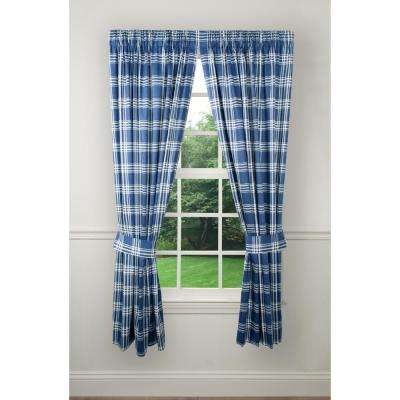 90 in. W x 63 in. L Bartlett Blue Cotton Tailored Pair Curtains with Ties