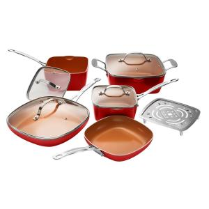 10-Piece Red Non-Stick Ti-Ceramic Square Cookware Set with Lids