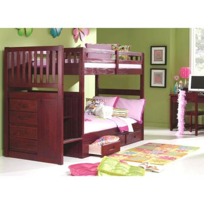 Merlot Twin over Twin Staircase Bunkbed with 7-Drawers