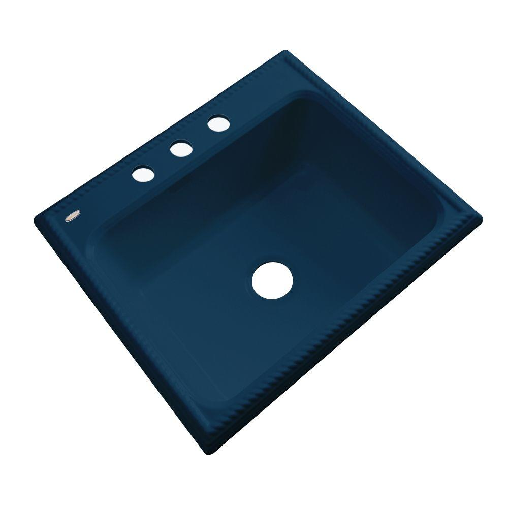 Thermocast Wentworth Drop-In Acrylic 25 in. 3-Hole Single Basin Kitchen Sink in Navy Blue