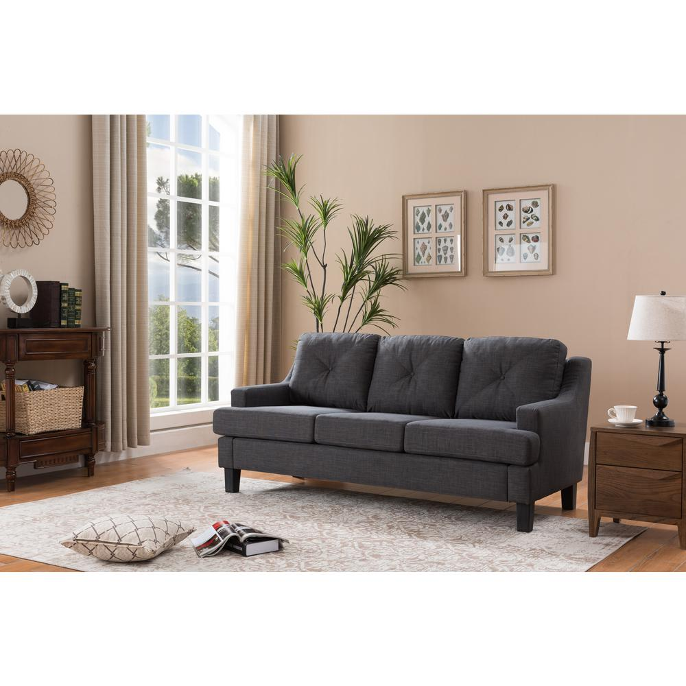 Crawford U0026 Burke Milan Gray Linen Sofa