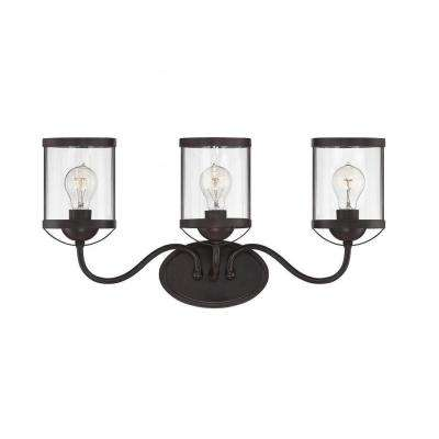 Helsingborg 3-Light English Bronze Bath Vanity Light