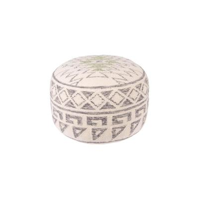 20 in. White Round Wool Blend Kilim Pouf