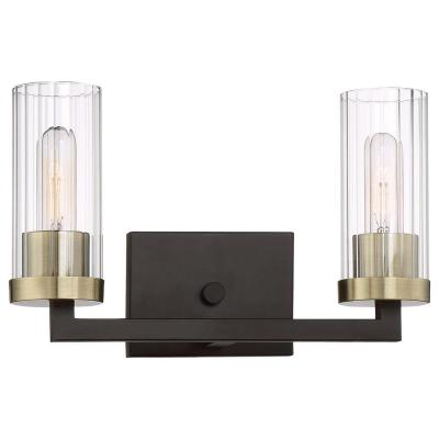 Ainsley 2-Light Aged Kingston Bronze with Brushed Brass highlights Bath Light
