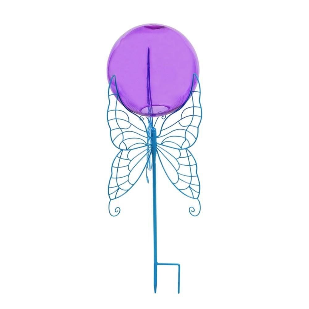 28 in. Blue Butterfly Gazing Ball Set