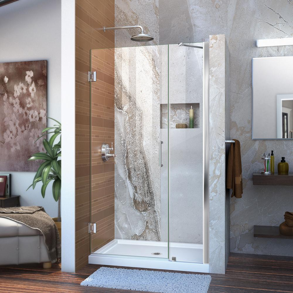 DreamLine Unidoor 37 to 38 in. x 72 in. Frameless Hinged Pivot Shower Door in Chrome with Handle