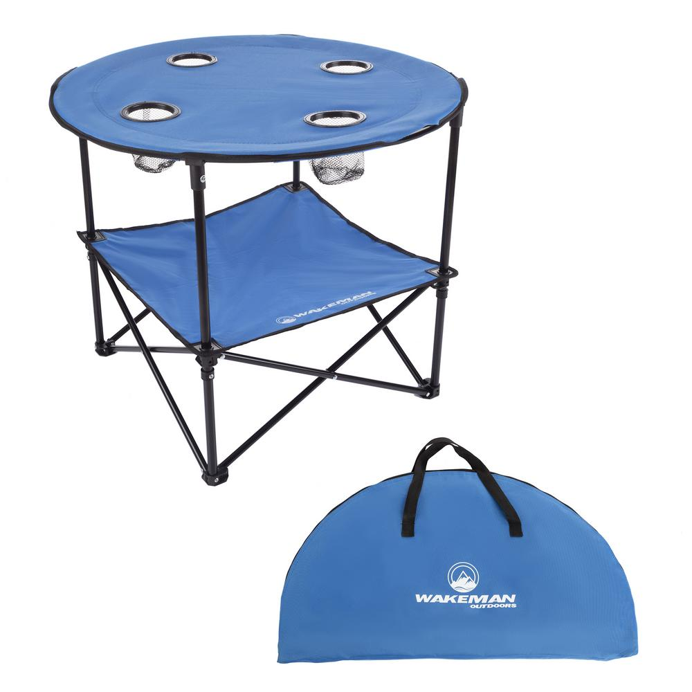 Swell Wakeman Outdoors 2 Tier Folding Camping Table With 4 Cupholders And Carrying Bag In Blue Unemploymentrelief Wooden Chair Designs For Living Room Unemploymentrelieforg