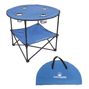 2-Tier Folding Camping Table with 4 Cupholders and Carrying Bag in Blue
