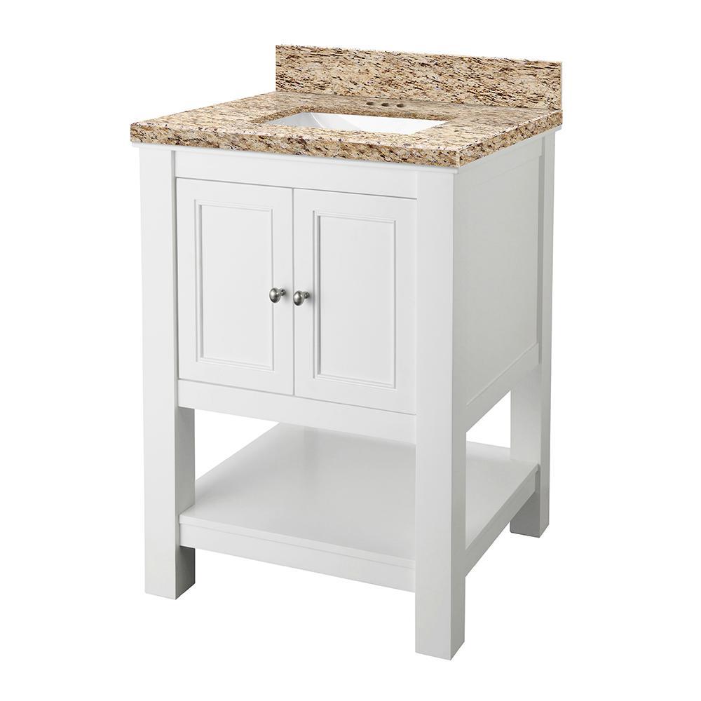 Gazette 25 in. W x 22 in. D Vanity in Espresso with Granite Vanity Top in Giallo Ornamental with White Sink