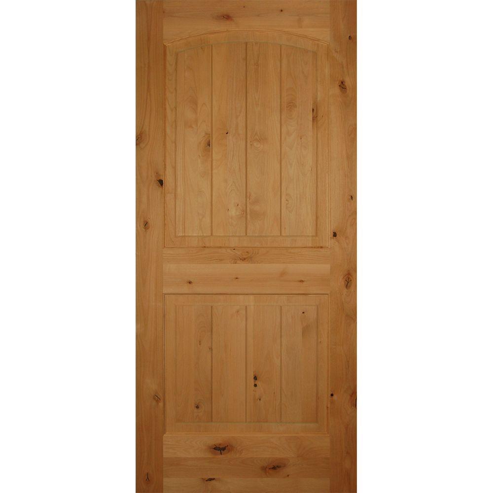 Builders Choice 36 in. x 80 in. 2-Panel Arch Top Unfinished V-Grooved Solid Core Knotty Alder Single Prehung Interior Door