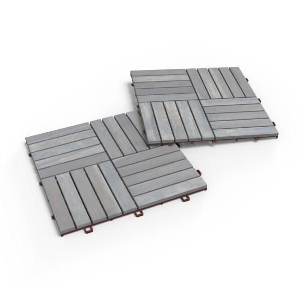 CAMP 20, 1 ft. x 1 ft. x 0.5 in., 10 sq. ft., Acacia Deck Tiles in Dusk Grey Stain Finish, 10 Tiles (10-Pack)