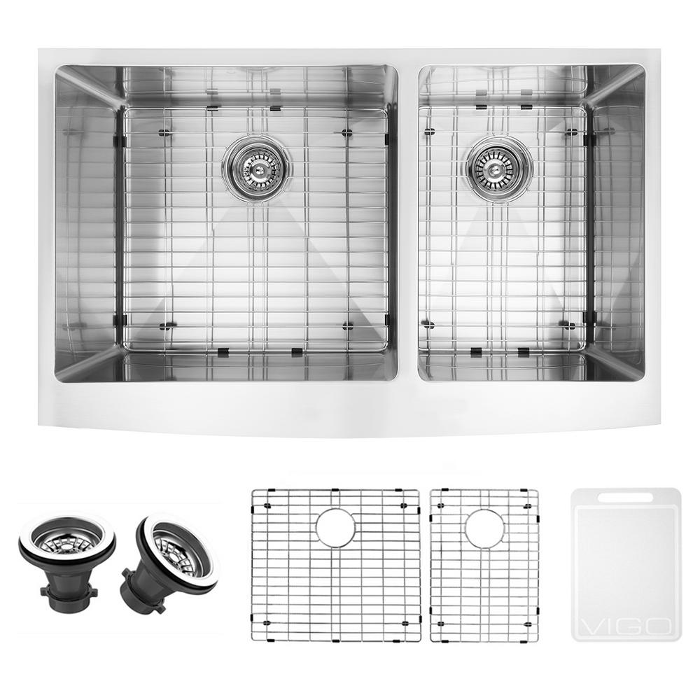 VIGO Farmhouse Apron Front Undermount Stainless Steel 36 In. Double Bowl  Kitchen Sink With Grid