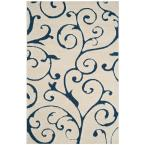 Florida Shag Cream/Blue 6 ft. x 9 ft. Area Rug