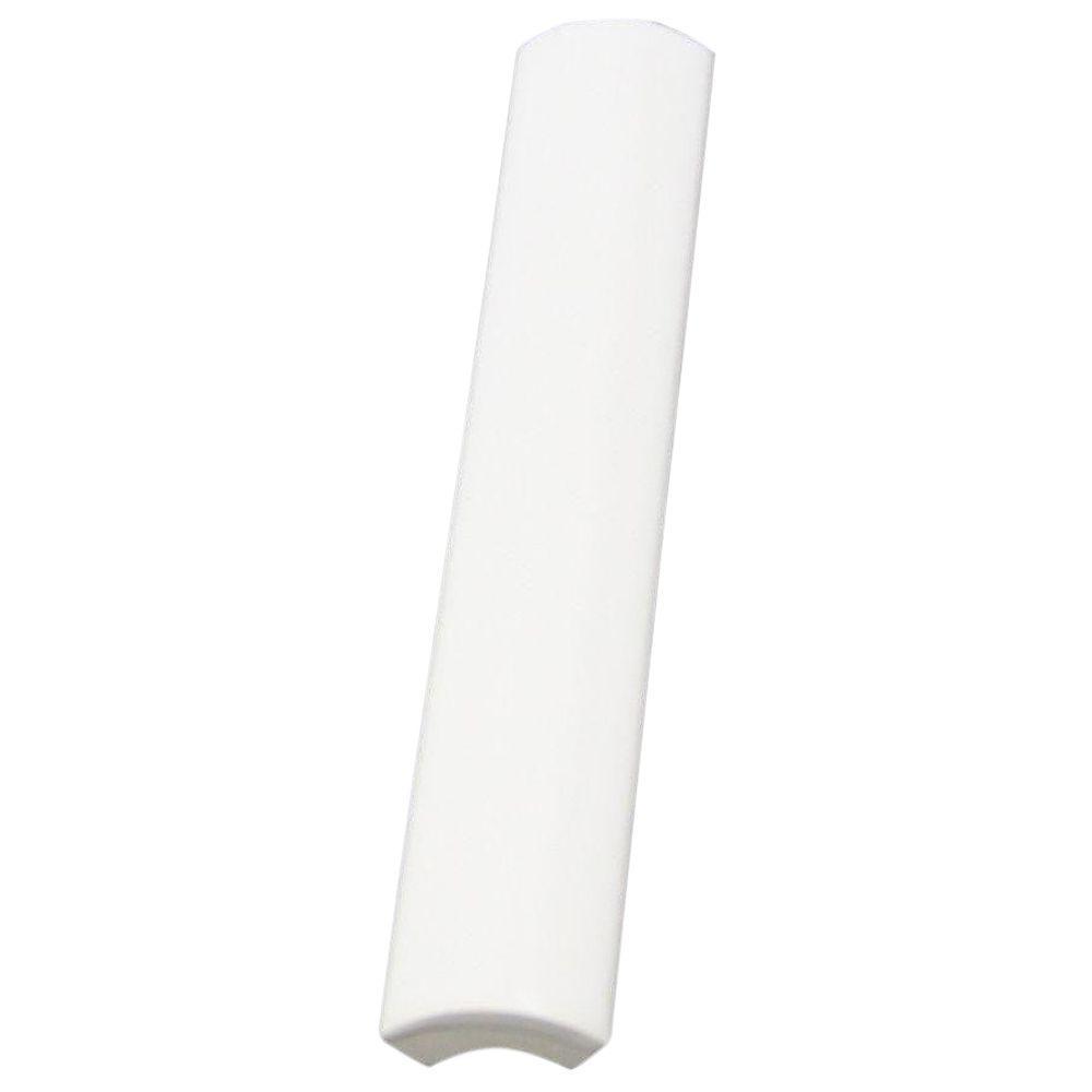 Daltile Semi-Gloss White 3/4 in. x 6 in. Ceramic Quarter-Round Trim Wall Tile