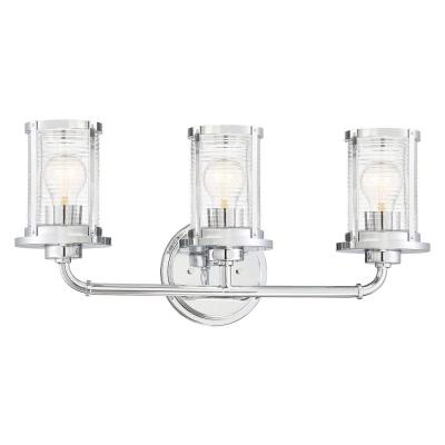 Cylinder Style 23 in. 3-Light Chrome Vanity Light with Clear Ribbed Glass Shades
