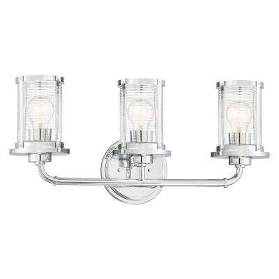 Cylinder Style 23 In 3 Light Chrome Vanity With Clear Ribbed Gl Shades