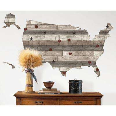 24 in. x 36 in. Country Living US Map Decal