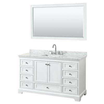 Deborah 60 in. W x 22 in. D Vanity in White with Marble Vanity Top in Carrara White with White Basin and 58 in. Mirror
