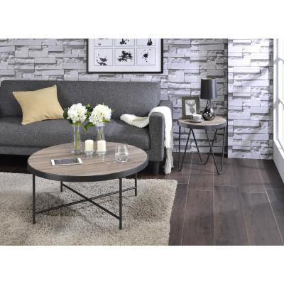 Amelia Weathered Gray Oak & Metal Bage End Table