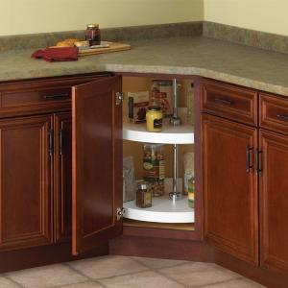 Knape & Vogt 32 in. H x 28 in. W x 28 in. D 2-Shelf Full Round Lazy Susan Cabinet Organizer-PFN28ST-W - The Home Depot