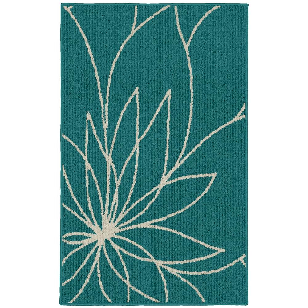 Grand Floral Teal/Ivory 2 ft. 6 in. x 3ft. 10 in.
