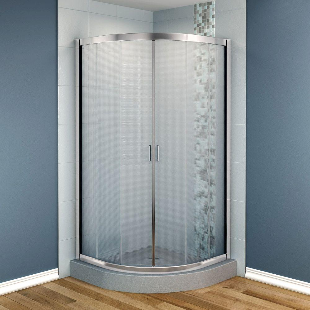 MAAX Intuition 36 in. x 36 in. x 70 in. Neo-Round Frameless Corner Shower Door Mistelite Glass in Chrome Finish-DISCONTINUED