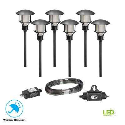 Low Voltage Black Outdoor Integrated LED Landscape Path Light (6-Pack Kit)