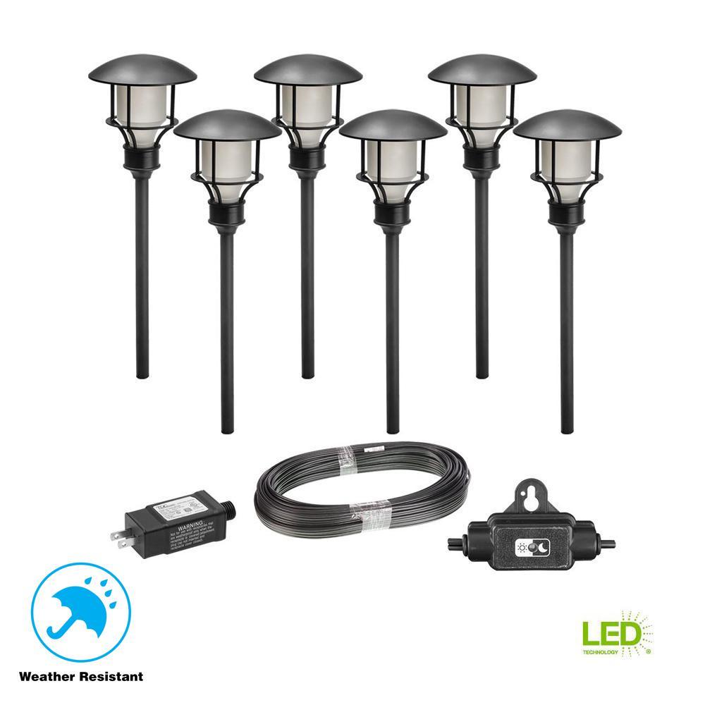 Low Voltage Black Outdoor Integrated LED Landscape Path Light (6-Pack Kit)